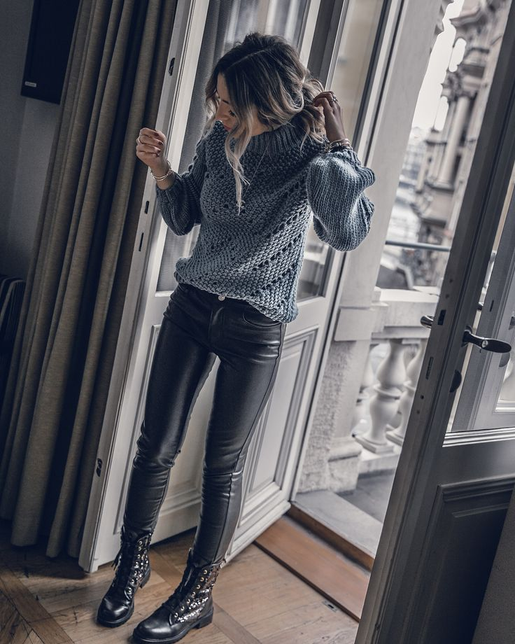 Winter Outfit 2018, Cold Weather Outfit, fake leather pants outfit, sweater fashion, women outfit