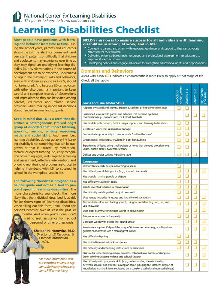 Extensive Checklist from the National Center for Learning Disabilities (www.ncld.org)