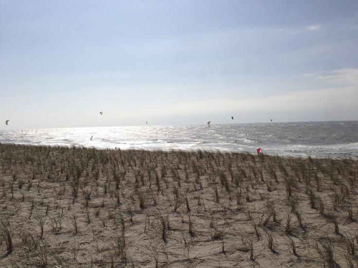 Kitesurfing view 2nd Maasvlakte in Rotterdam