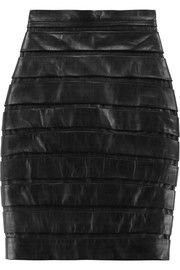 Balmain Paneled leather pencil skirt