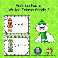 Do you need an activity to help with addition facts fluency?  This engaging set of winter themed flash cards will provide what you need for math stations, math rotations, or math tubs.