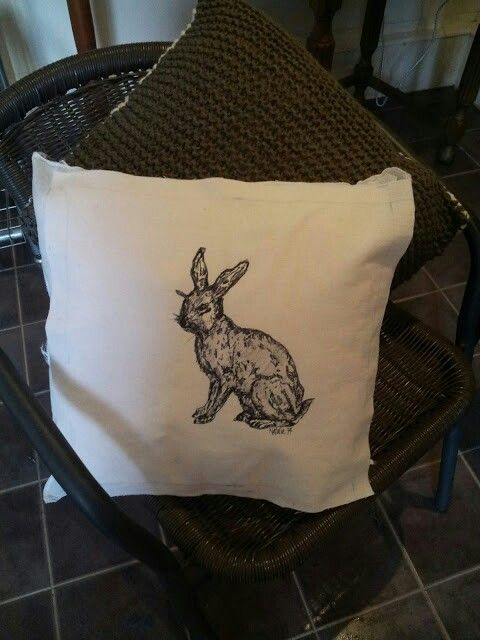 Hand drawn hare for cushion cover