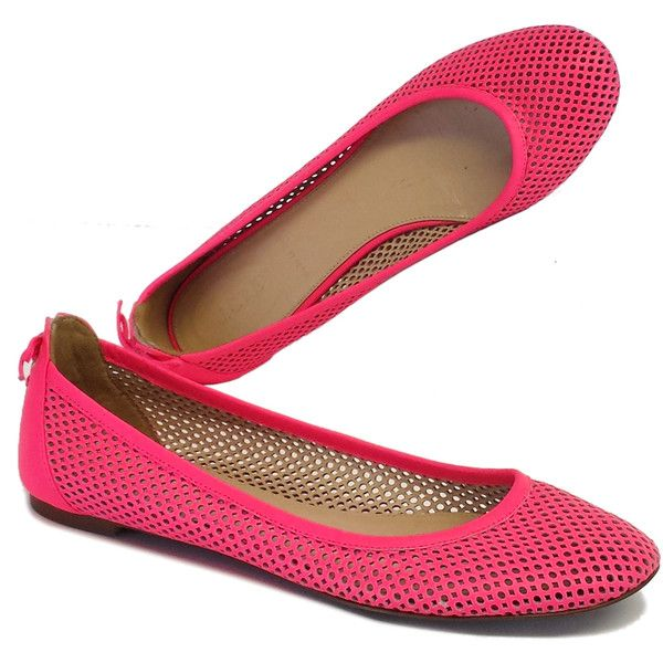 J Crew Pre-owned J Crew Neon Pink Perforated Leather Ballet Flats ($60) ❤ liked on Polyvore featuring shoes, flats, ballet flats, sapatos, lace up shoes, lace up flats and wedding shoes ballet flats