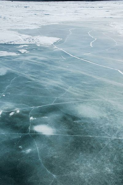 Blowing snow on the Mackenzie River...
