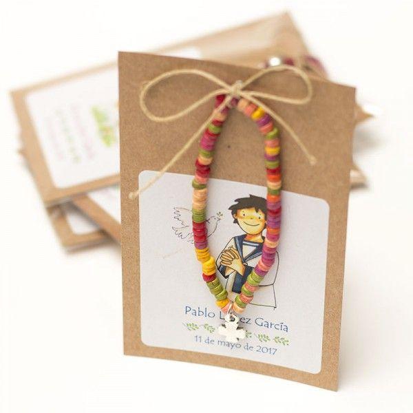 Recuerdo de Comunión pulsera de colores con cruz para regalar a tus invitados con etiqueta personalizada