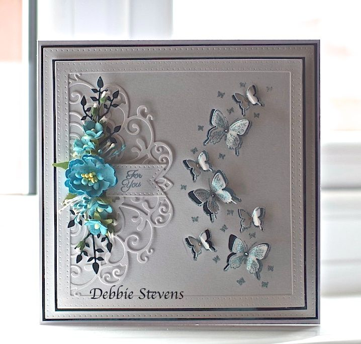 Hi everyone, I have a card for you today. Had some new dies to play with… items used are, Sue Wilson noble squares, pierced flags, Crafters companion create a card-Elizabeth, stamps by Chloe …
