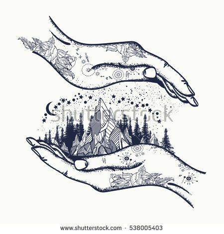 Mountains in hands, tattoo. Symbol of  travel, tourism, meditation. Mountains boho style, t-shirt design, surreal graphics tattoo