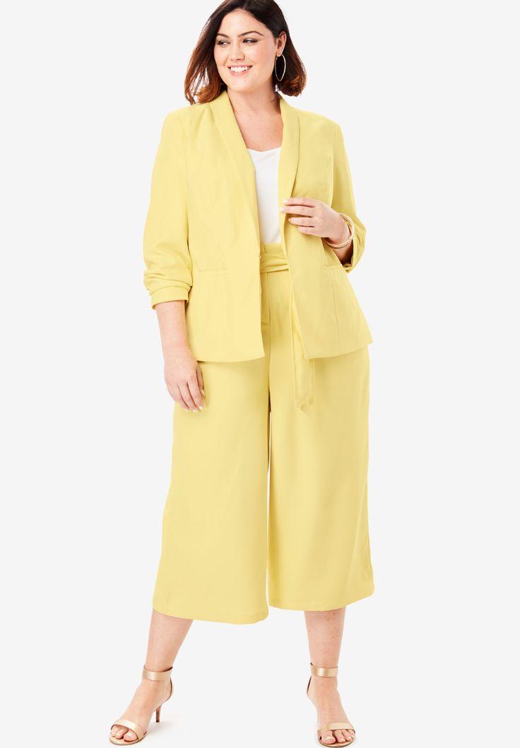 Roamans Womens Plus Size Two-Piece Blazer /& Culotte Set