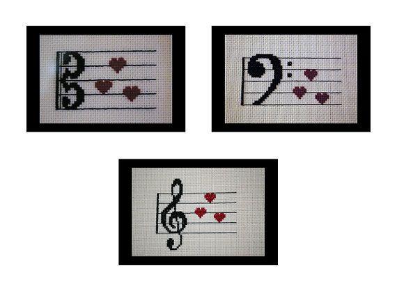 Music Clef Love PDF Cross Stitch Pattern by BlueTopazStitchery, $6.00
