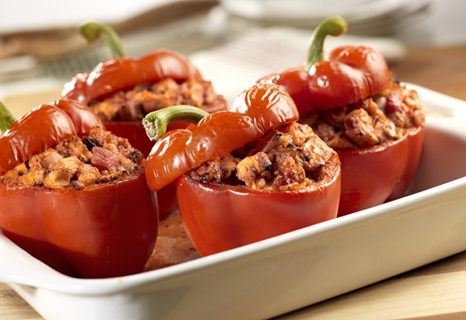 Chicken Stuffed Bell Peppers: Stuffed Red, Bell Pepper Recipes, Maine Dishes, Chicken Stuffed Peppers, Belle Peppers Recipe, Chicken Stuffed Belle, Stuffed Belle Peppers, Campbell Kitchens, Stuffed Bell Peppers