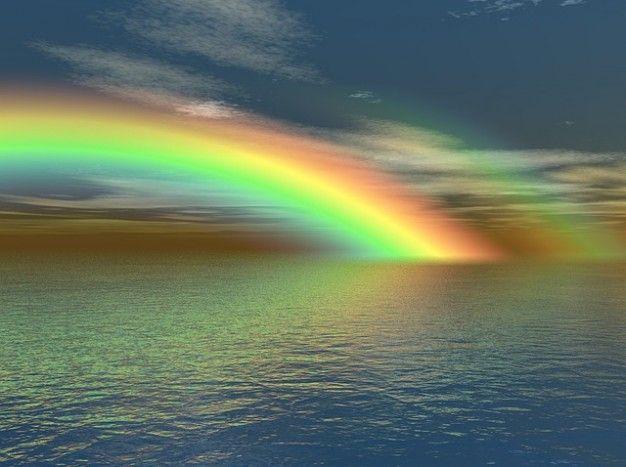 natureza do arco-íris cores de água do mar