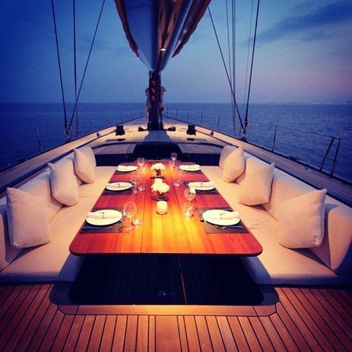 Yachting trips - dining at night. Yacht Club Members Are Making Up To $50,000 Per Month Online With This Simple 3-Step System here: http://iwritemypaycheck.com/yacht/?t=pin yachtingexperts #seascape #luxurylife #luxurylifestyle