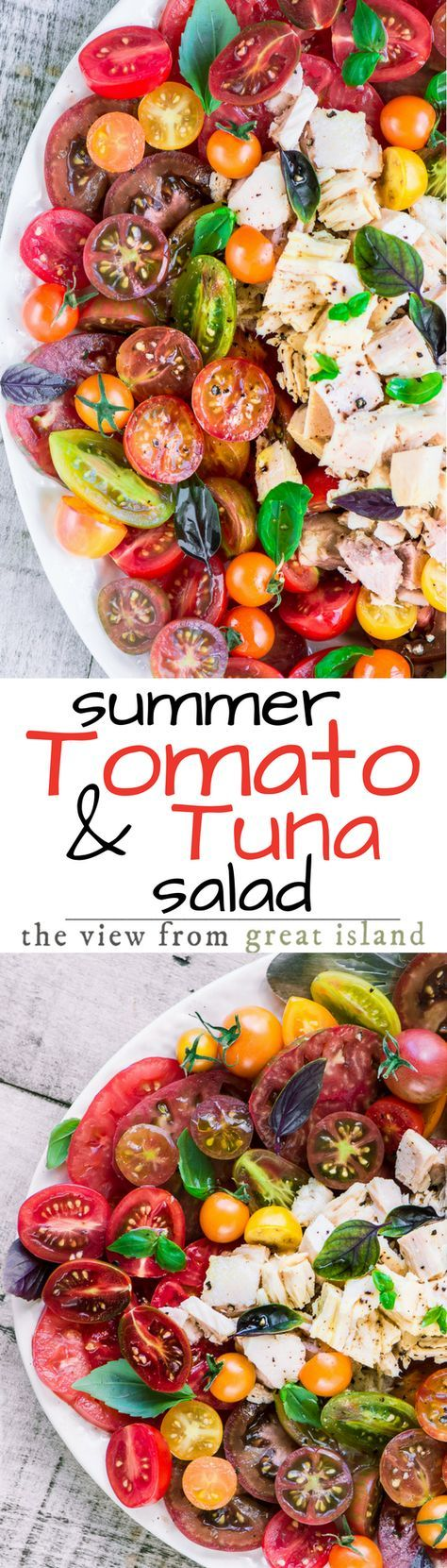 My Summer Tomato and Tuna Salad is in the Mediterranean tradition of serving up healthy seasonal food simply and There's no need for heavy sauces or dressings, these ingredients can stand on their own, with maybe a dousing of the best olive oil in the house. | main course salad | healthy dinner | seafood | fish | 30 minute meal | whole 30 | gluten free | paleo |