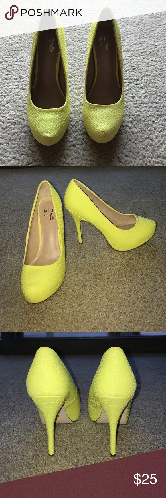 Mix #6 heels. BEAUTIFUL NEON YELLOW! Make a statement! Brand new neon yellow heels. mix no. 6 Shoes Heels