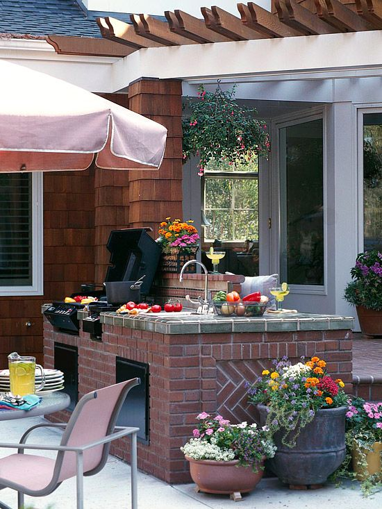 Think About Your Needs                It's easy to go overboard when planning an outdoor kitchen. While lots of fancy features will make it more fun, they'll also up the price tag. So start by thinking about how much you'll actually use your kitchen. Will you want to prepare gourmet meals for friends and family where you'll need lots of counter space? Or will just a nook with a g