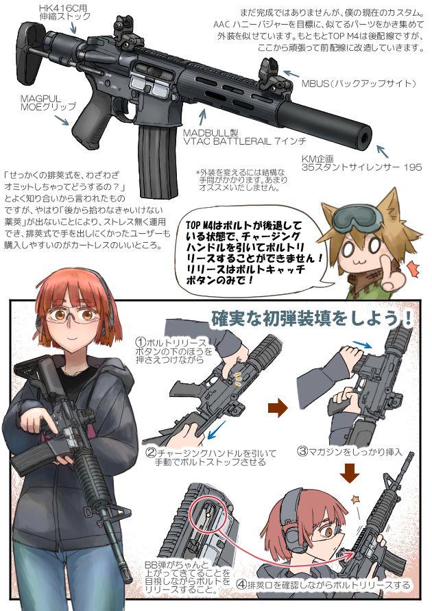 エアガンレビュー イラストれーてっど: TOPジャパン 電動ガン M4カービン カートレスモデル 2