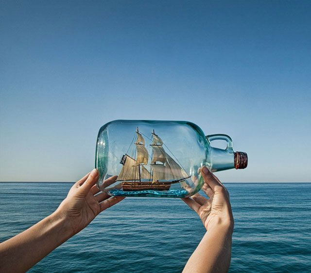Message in a bottle ---  stop motion.  back and forth with two characters...