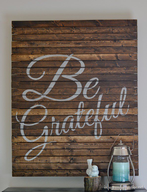 """Make a """"Be Grateful"""" pallet style sign for fall and Thanksgiving for less than $10 using wood shims."""