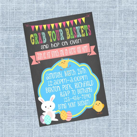 Check out this item in my Etsy shop https://www.etsy.com/ca/listing/265863301/easter-invitation-easter-egg-hunt