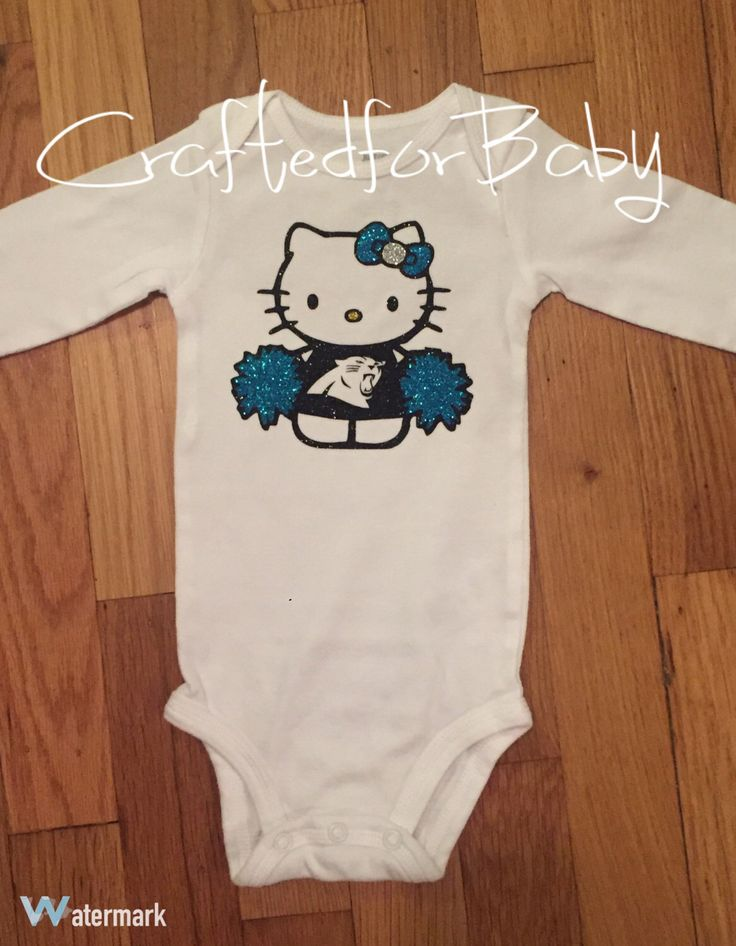 Hello Kitty Carolina Panthers Cheerleader Onesie Bodysuit by CraftedforBaby on Etsy https://www.etsy.com/listing/482657151/hello-kitty-carolina-panthers