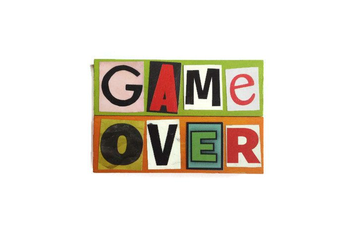 GAME OVER magnets reworked jenga blocks Green & Orange  unique retro gift for any kitchen office man cave gift - pinned by pin4etsy.com
