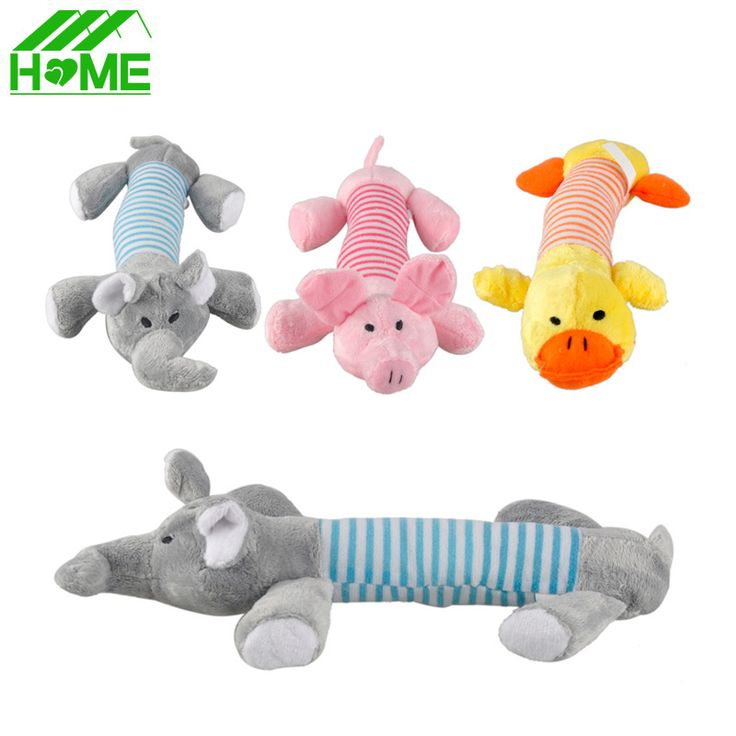Funny Pet Dog Toy Chew Squeaker Squeaky Plush Sound Toys Duck Pig Elephant Play Toys for Puppy Small Big Dogs FREE SHIPPING