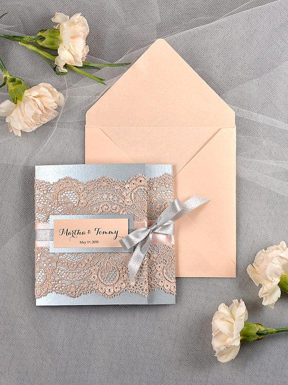Vintage Wedding Invitation Lace wedding by DecorisWedding on Etsy, $6.20