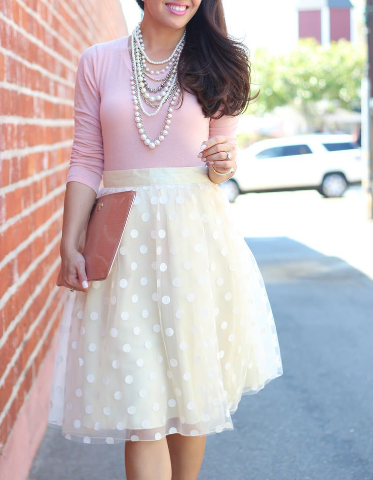 Polka dot Tulle skirt, Blush top and Pearl necklace with clutch (plus Nordstrom anniversary sale picks) // Click on the following link to see all of the photos and outfit details:  http://www.stylishpetite.com/2014/07/tulle-blush-and-pearls-plus-nordstrom.html