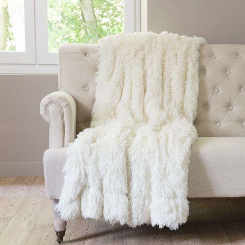 Manta de imitación de piel blanca 130 x 170cm VAL THORENS