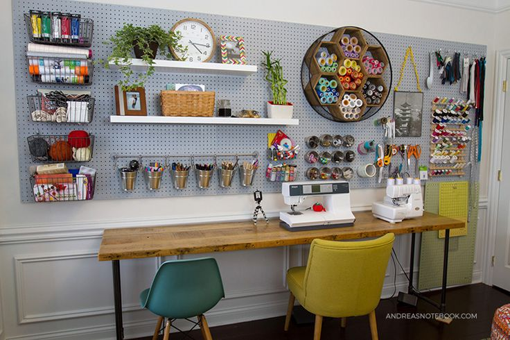 WOW! This creative home office is so dreamy! Perfect for a work at home crafter!