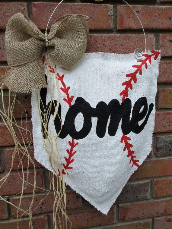 Baseball Burlap Door Hanger home by nursejeanneg on Etsy