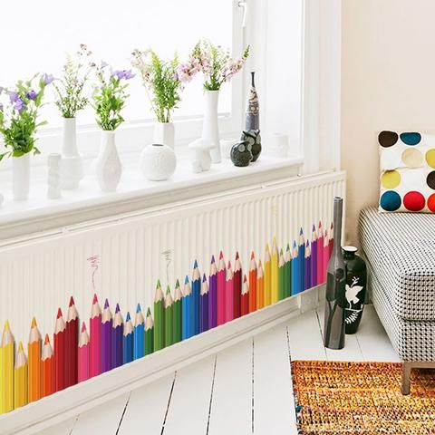 Wall Decals for Kids. Love this idea for a nursery, kids room, classroom or day care center. Such a pop of color with this pencil wall sticker.