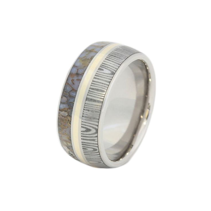 Items Similar To Damascus And Dinosaur Bone Ring With A Yellow Gold Pinstripe Mens Wedding Band Stainless Steel Sleeve On Etsy