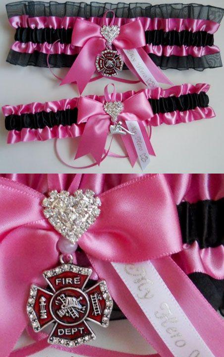 Pink Firefighter Wedding Garter | Shared by LION