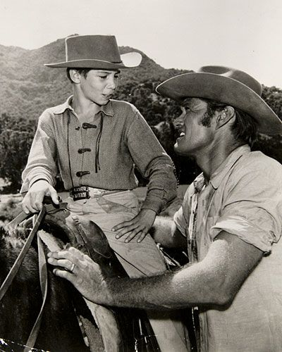 """The Rifleman""  Johnny Crawford and Chuck Connors star in th hit show, ""The Rifleman."""