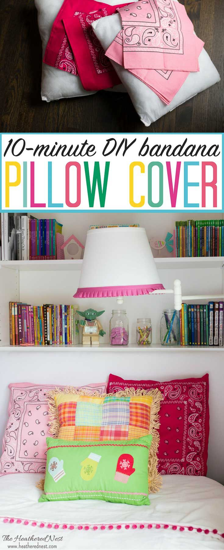 DIY pillow cover tutorial. Made from dollar store bandanas!