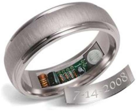 """20 Nerdy Wedding rings-hilarious AND somewhat cool. This one heats up to an uncomfortable 120 degrees every 20 minutes for 10 seconds (it wont burn) 24 hours before the date to """"remind"""" you of your anniversary! ha ha!"""