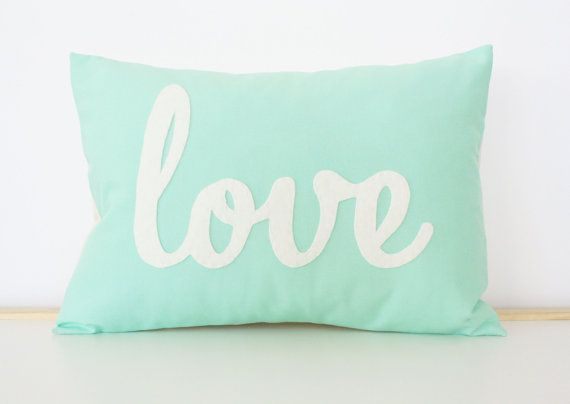 love this pillow for my apt! Light Teal Love Pillow by HoneyPieDesign on Etsy, $42.00