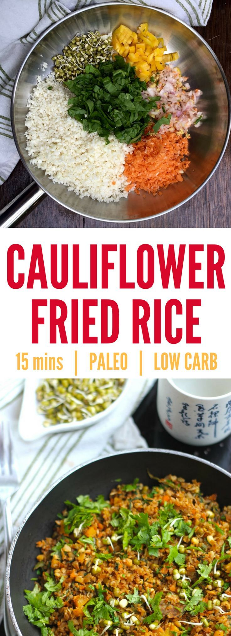 Recipe for quick and easy 15 minute cauliflower egg fried 'rice' -at 171 calories. So delicious you won't miss the rice. Makes an excellent fast day recipe for those on the 5-2 diet. Replace egg with tofu if you're vegan! Cauliflower rice - cauliflower fried rice - cauliflower recipes - fast day 5:2 - fast day meals