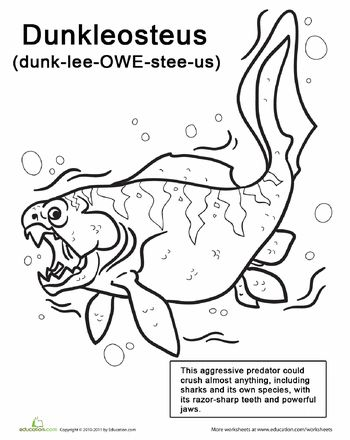 Sea Monster Coloring Pages: Dunkleosteus | Sea monsters ...