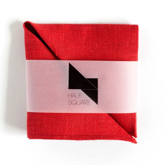 Red linen pocket square  unisex fashion accessory by HalfSquares
