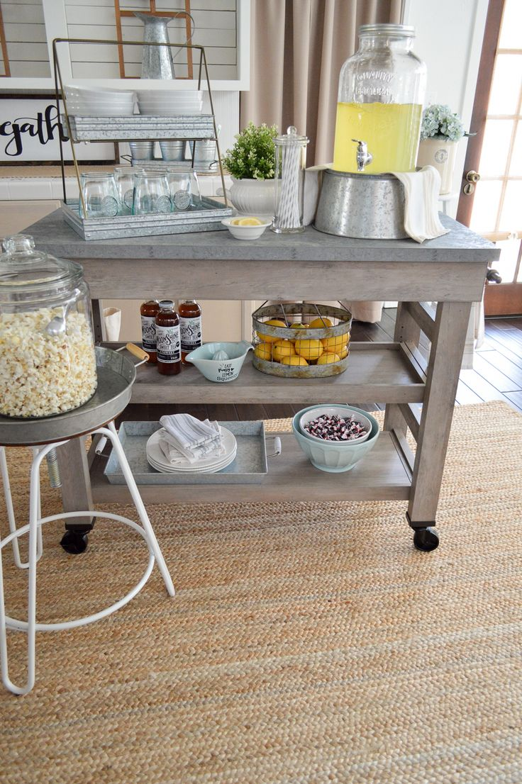 Loving my new Modern Farmhouse Multi Purpose Cart by Better Homes & Gardens from Walmart! We are using it as a Kitchen Island, and I put together a fun, movie night and used it as a snack bar. Can't wait to play with it for big family dinners. I think it's going to be a wonderful addition for extra serving room and dish storage during the holidays. See it at foxhollowcottage.com - Sponsored by @bhg_livebetter #BHGatWalmart