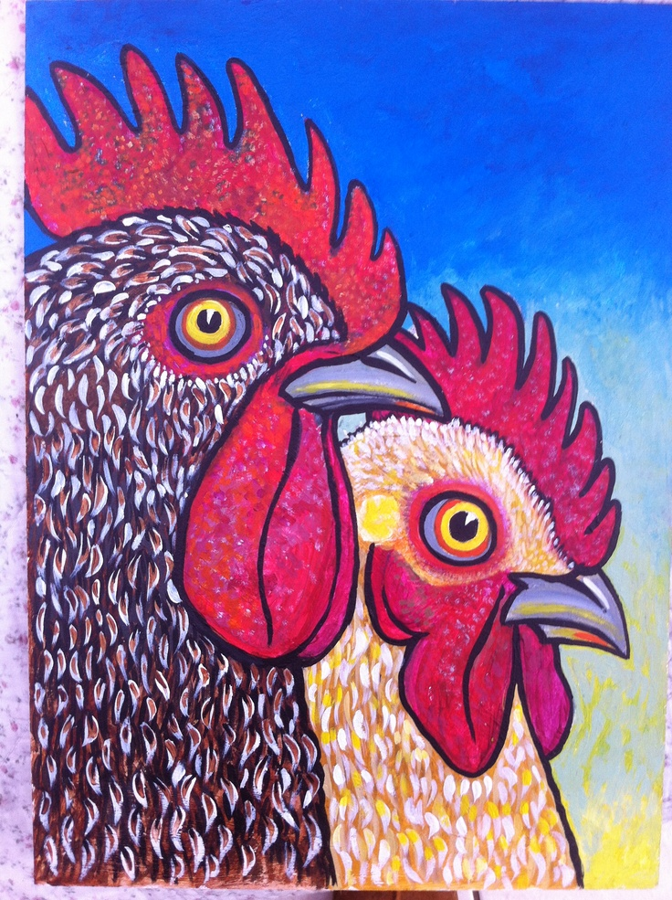 Chicken painting by Julia Dawson