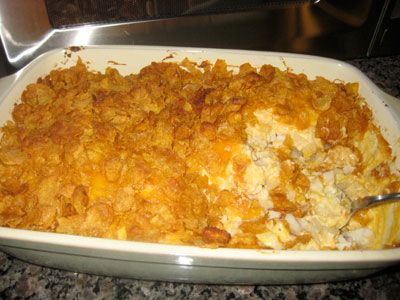 "Potato casserole - also known as ""crack potatoes"". I would be kicked out of my friends' parties if I tried to walk in without this. Crack potato addicts, all of them."