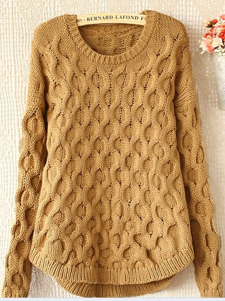 Women' Round Neck Worsted Candy Color Pullover Pullover from stylishplus.com