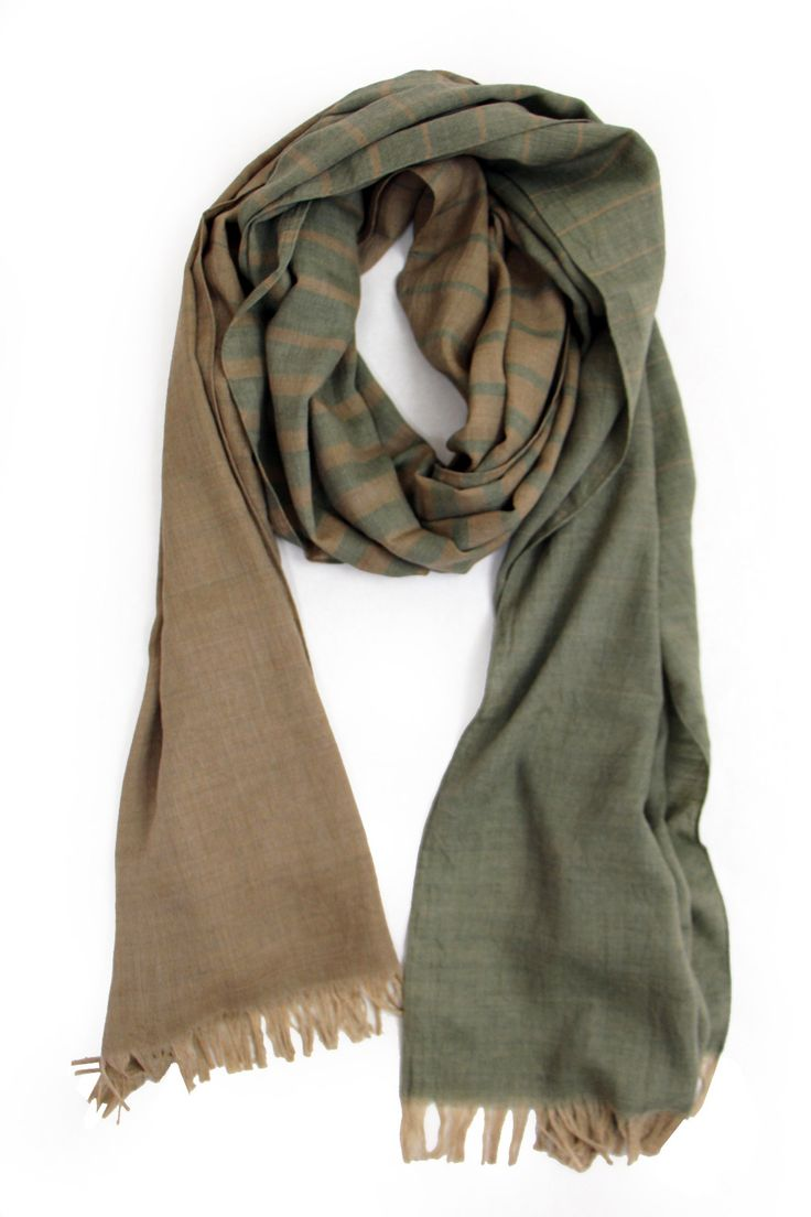 STILL BY HAND Striped Scarf, Camel/Olive