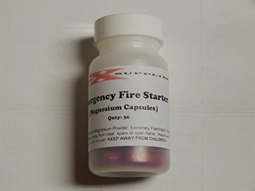 Emergency Fire Starter - Magnesium Powder Capsules - This is a bottle of 30 capsules. Each filled with a pre measured amount of magnesium powder. Enough to light almost any fire building material, kindling or tinder with just a simple spark from a striker or flint. With a super high burn temp the burning magnesium and resulting metal ember will light almost any flammable material. Never be without on of the simplistic and easiest ways to get a fire going in a survival situation. Small and…