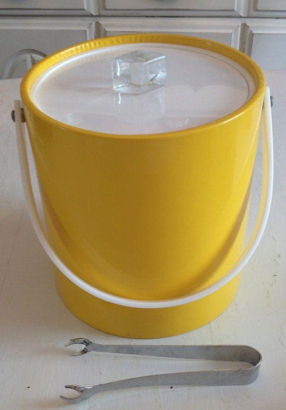 Retro Yellow Bucket Brigade Ice Bucket by MyDeerOwl on Etsy, $20.00