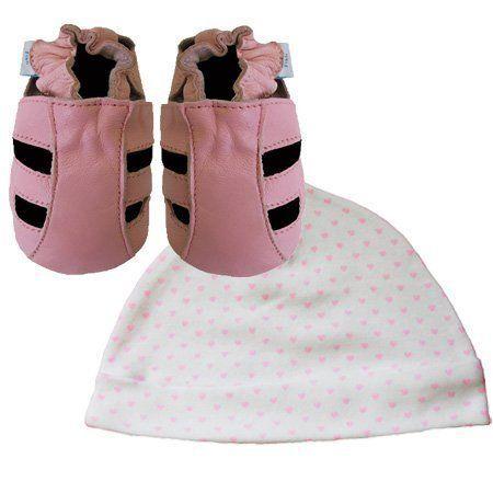 Neue weiche Leder Babysandalen rosa und Herzen Hut Geschenkset 0-6 Monate Dotty…
