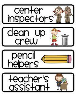 cute classroom job / classroom helper labels for chart.